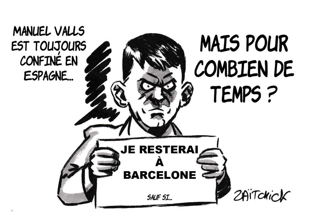 dessin de Zaïtchick sur l'épidémie de coronavirus, le confinement et le retour de Manuel Valls