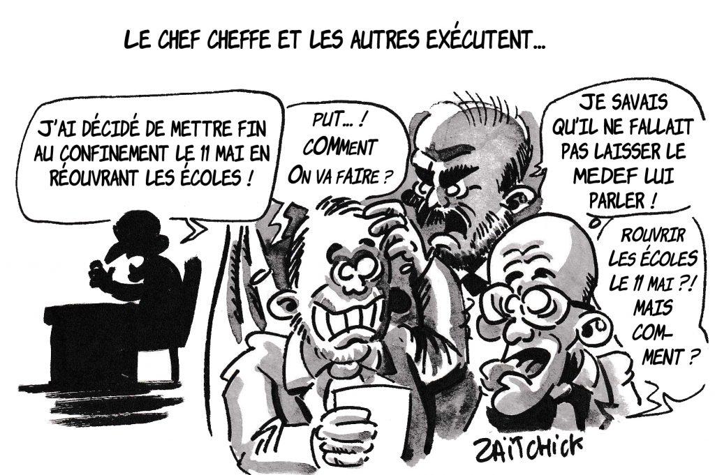 dessin de Zaïtchick sur l'épidémie de coronavirus et Emmanuel Macron qui annonce la fin du déconfinement sans consulter son gouvernement