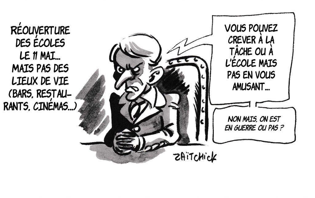 dessin de Zaïtchick sur l'épidémie de coronavirus, Emmanuel Macron et la date de sortie du confinement