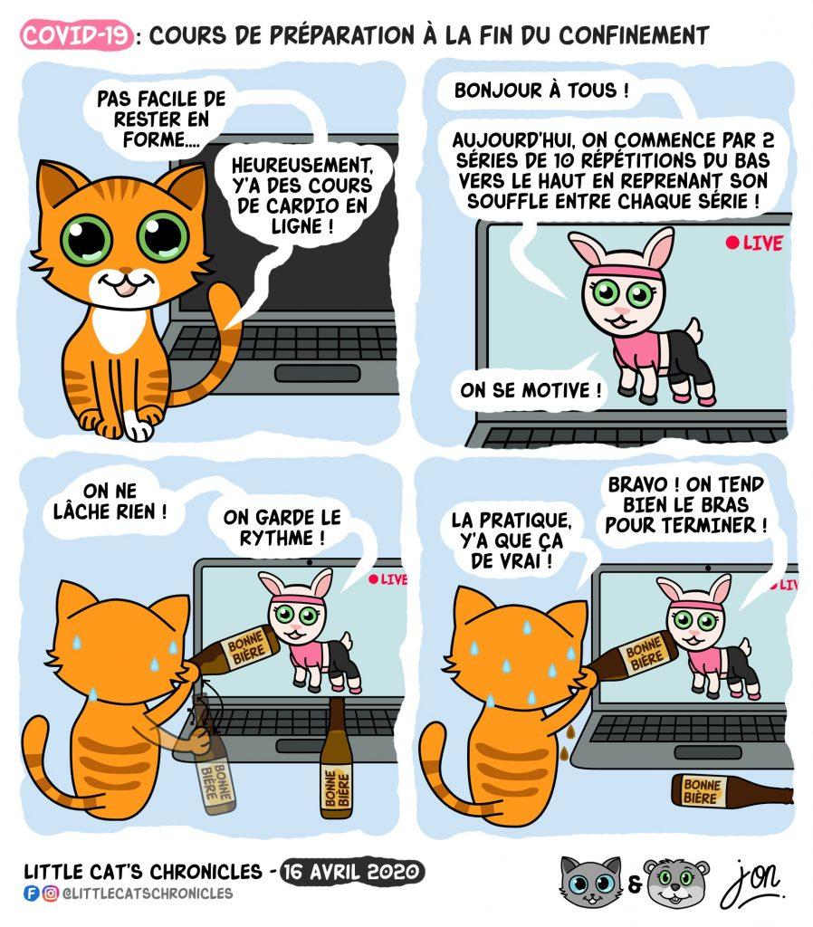dessin humoristique des Little Cat's Chronicles sur l'épidémie de Covid-19, la sortie du confinement et la réouverture des bars