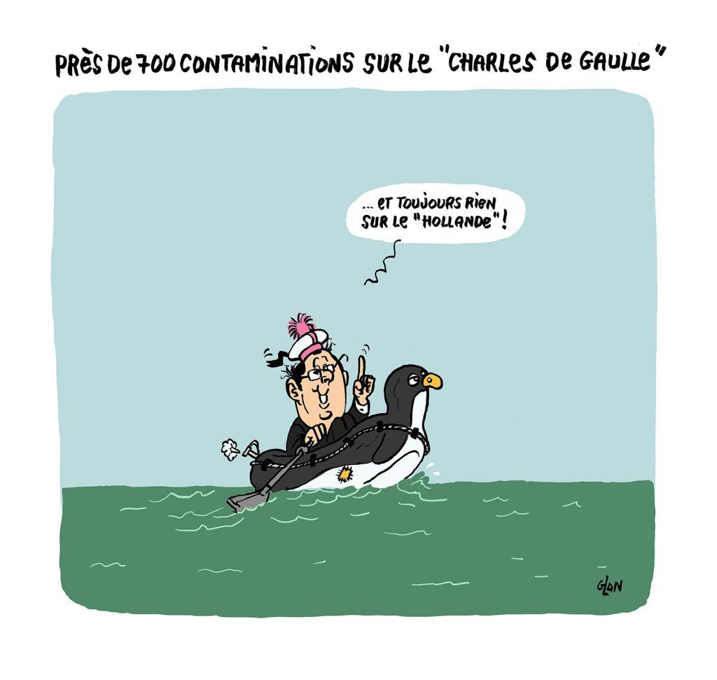 dessin humoristique de Glon sur l'épidémie de Covid-19 sur le porte-avions Charles de Gaulle et François Hollande