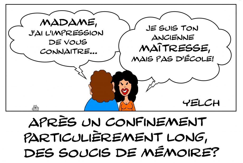 dessin de Yelch sur l'épidémie de Covid-19 et les troubles de la mémoire de l'après-confinement