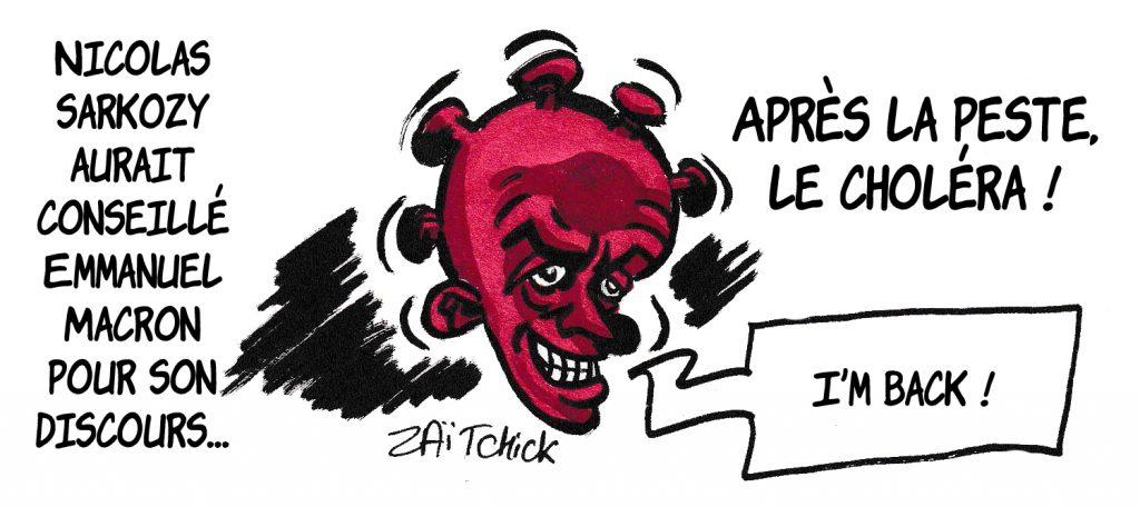 dessin de Zaïtchick sur l'épidémie de coronavirus, Nicolas Sarkozy et le discours d'Emmanuel Macron
