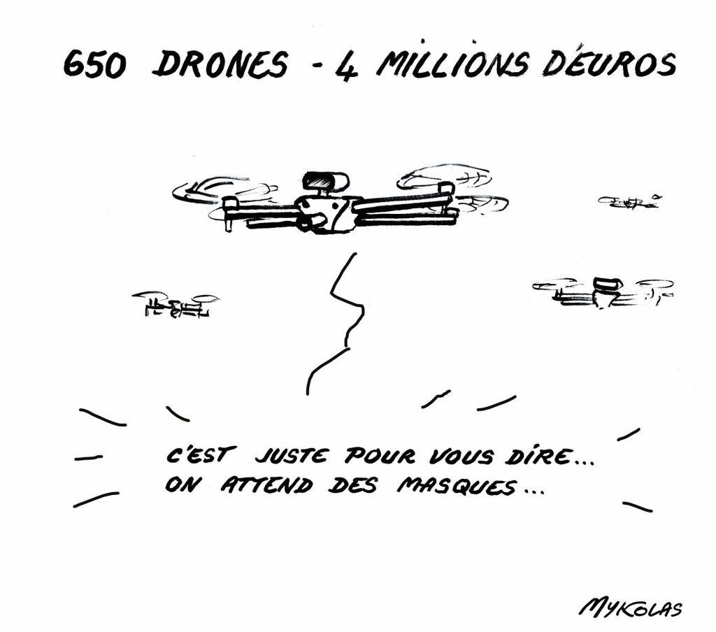 dessin d'actualité humoristique de Mykolas sur l'épidémie de Covid-19 et la commande de 650 drones pour un montant de 4 millions d'euros