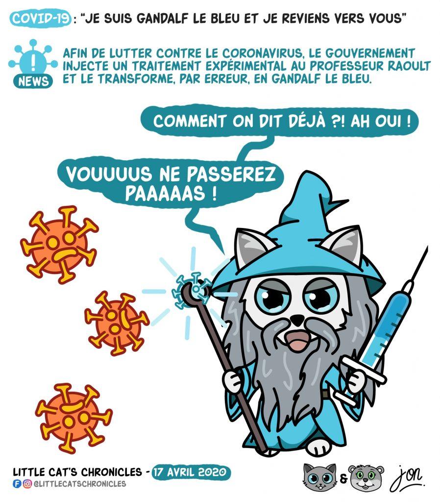 dessin humoristique des Little Cat's Chronicles sur l'épidémie de Covid-19, le professeur Raoult et Gandalf le Bleu