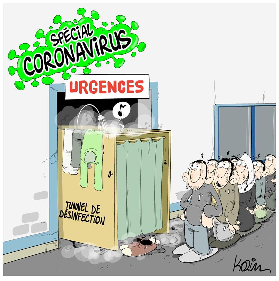dessin d'actualité humoristique de Karim sur l'épidémie de Covid-19 et la désinfection dans les hôpitaux