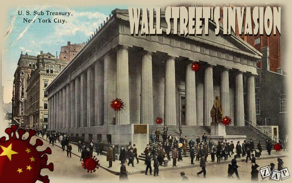 dessin d'actualité de Zap sur Wall Street face à l'épidémie de coronavirus