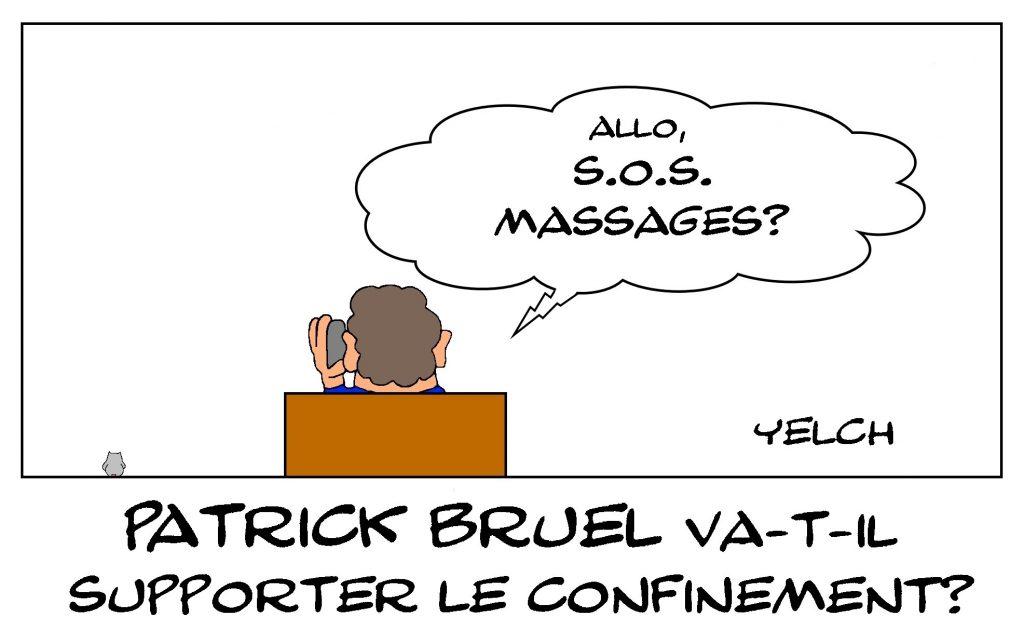 dessin de Yelch sur l'épidémie de Covid-19, le confinement et Patrick Bruel