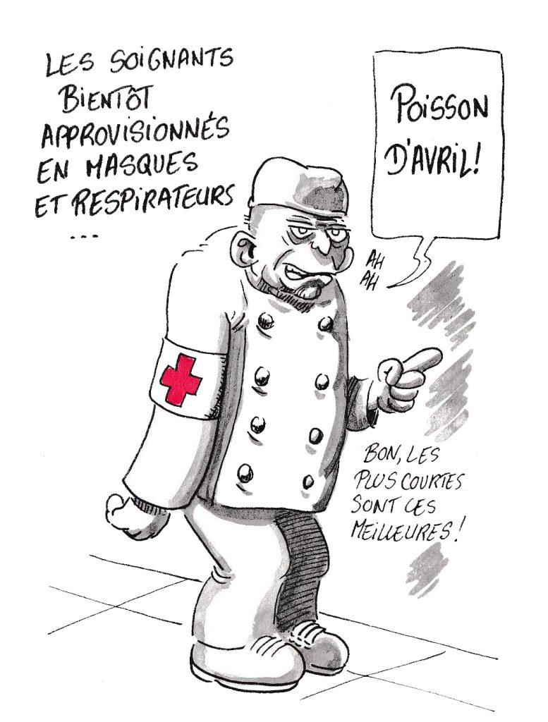 dessin de Zaïtchick sur l'épidémie de Covid-19 et la promesse d'approvisionnement en masques et respirateurs
