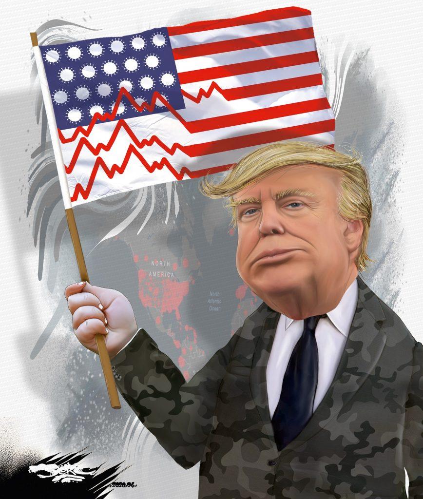 dessin d'actualité humoristique de Jerc sur l'épidémie de Covid-19 aux États-Unis et la gestion de la crise par Donald Trump