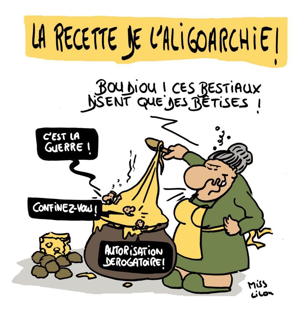 dessin de Miss Lilou sur l'oligarchie et la recette de l'aligot de l'Aveyron