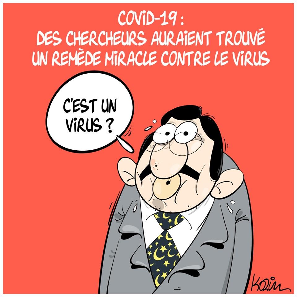 dessin d'actualité humoristique de Karim sur l'épidémie de Covid-19 et le vaccin miracle de Loth Bonatiro en Algérie