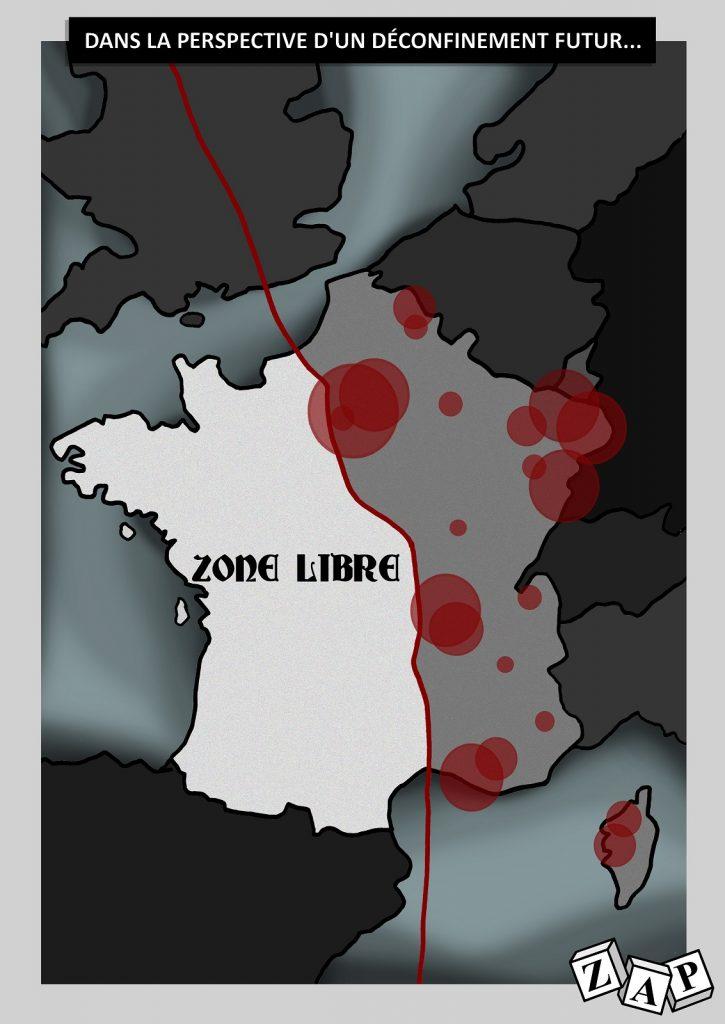 dessin d'actualité de Zap sur l'épidémie du Covid-19 et le déconfinement en France