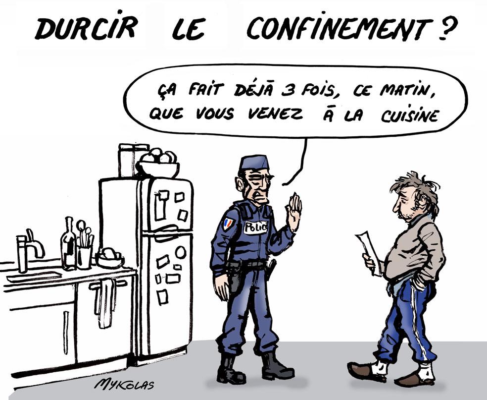 dessin d'actualité humoristique de Mykolas sur l'épidémie de covid-19 et le durcissement du confinement