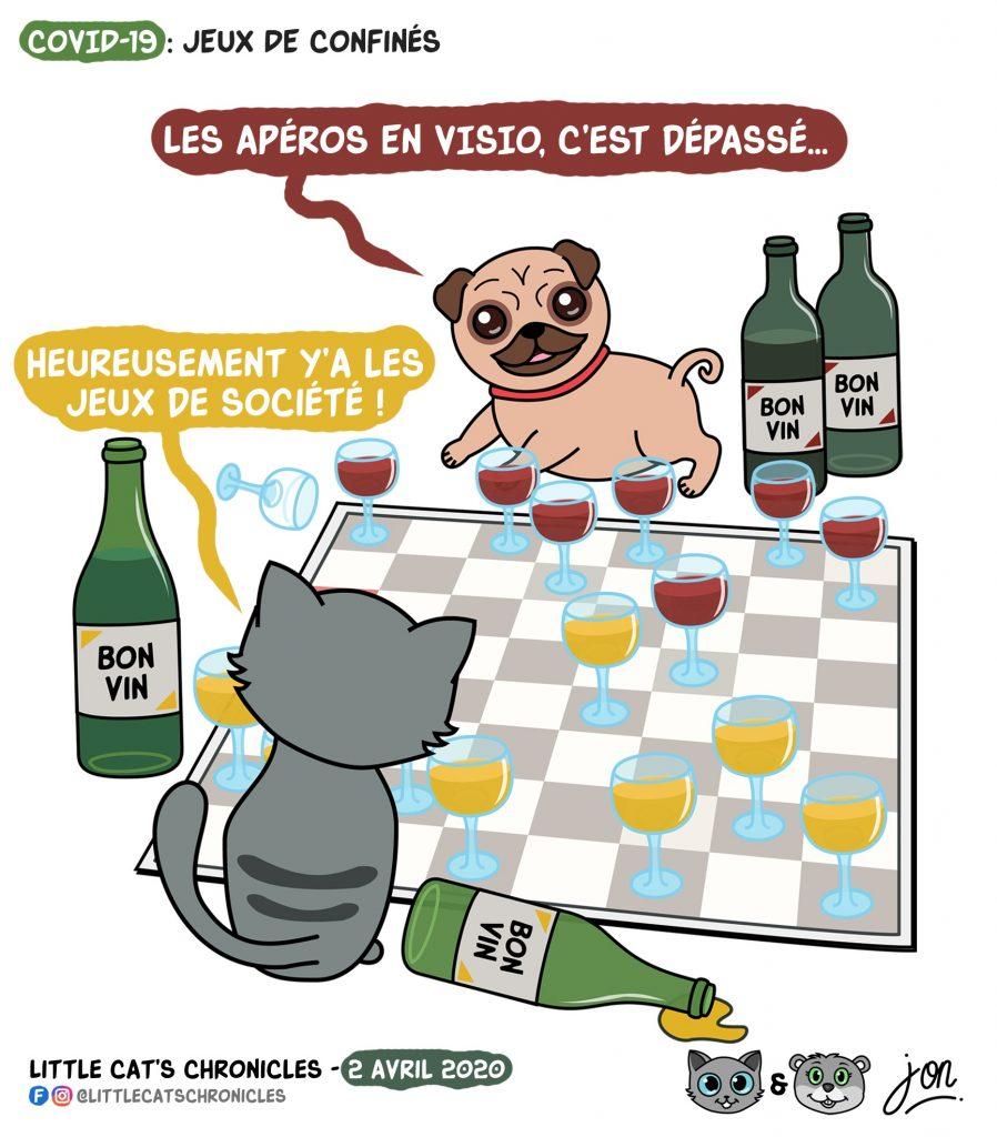 dessin humoristique des Little Cat's Chronicles sur l'épidémie de Covid-19, l'alcoolisme et les jeux de société pendant le confinement