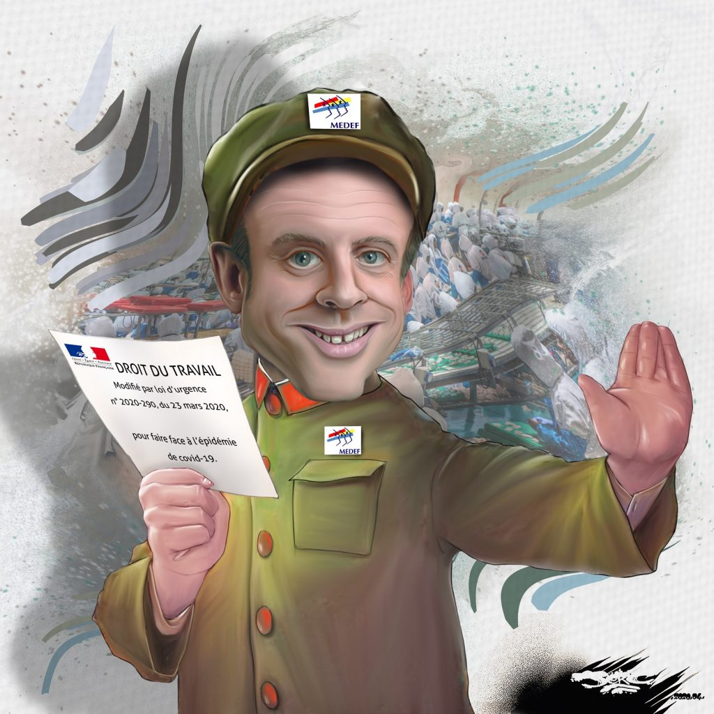 dessin d'actualité humoristique de Jerc sur l'épidémie de Covid-19, le confinement et l'ultralibéralisme porté par Emmanuel Macron