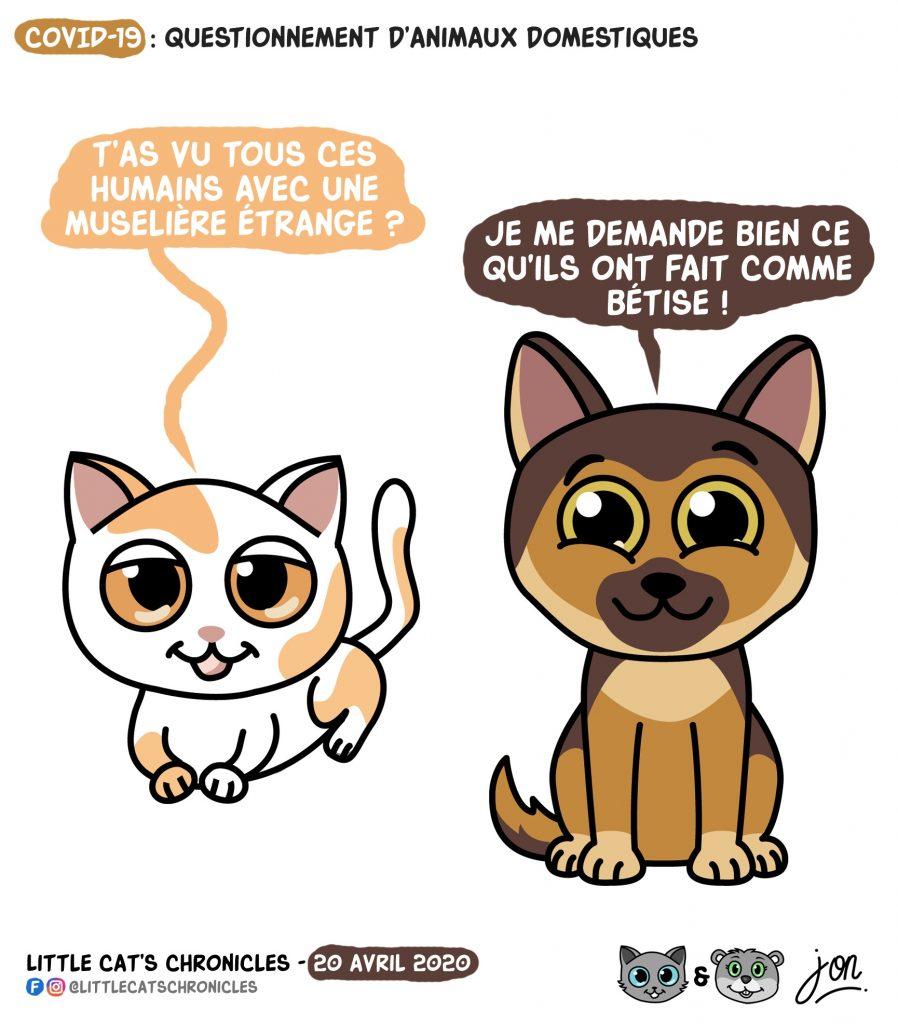 dessin humoristique des Little Cat's Chronicles sur l'épidémie de coronavirus et le port du masque