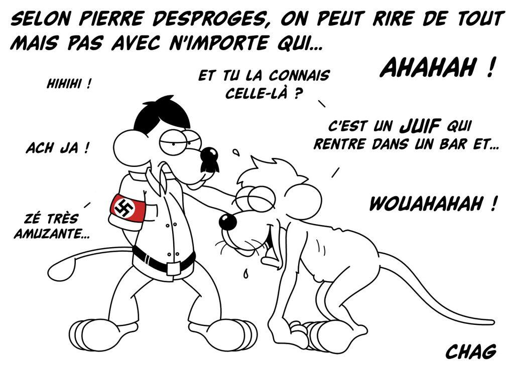 dessin d'humour de Chag sur Pierre Desproges et sa réflexion sur le public de l'humour