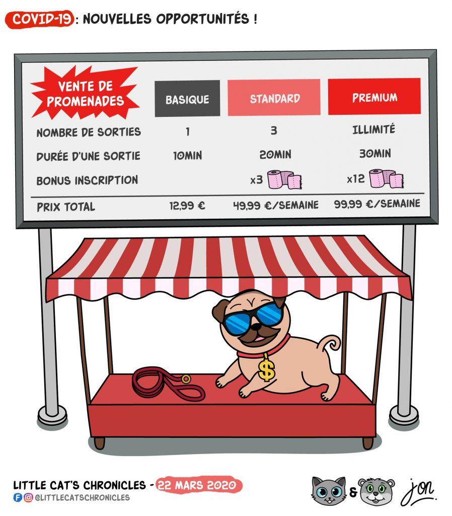 dessin humoristique des Little Cat's Chronicles sur les animaux domestiques et les autorisations de sortie pour la promenade du chien