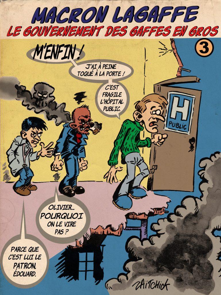 dessin de Zaïtchick sur l'épidémie de coronavirus et la gestion de la crise sanitaire par le gouvernement Macron