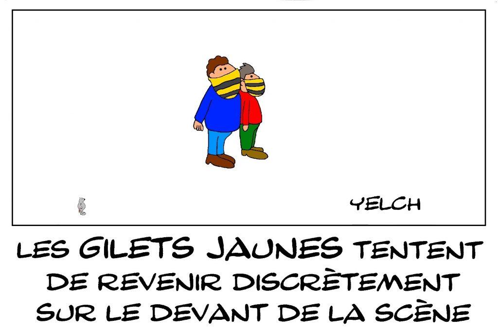 dessin de Yelch sur l'épidémie de covid-19 et les gilets jaunes