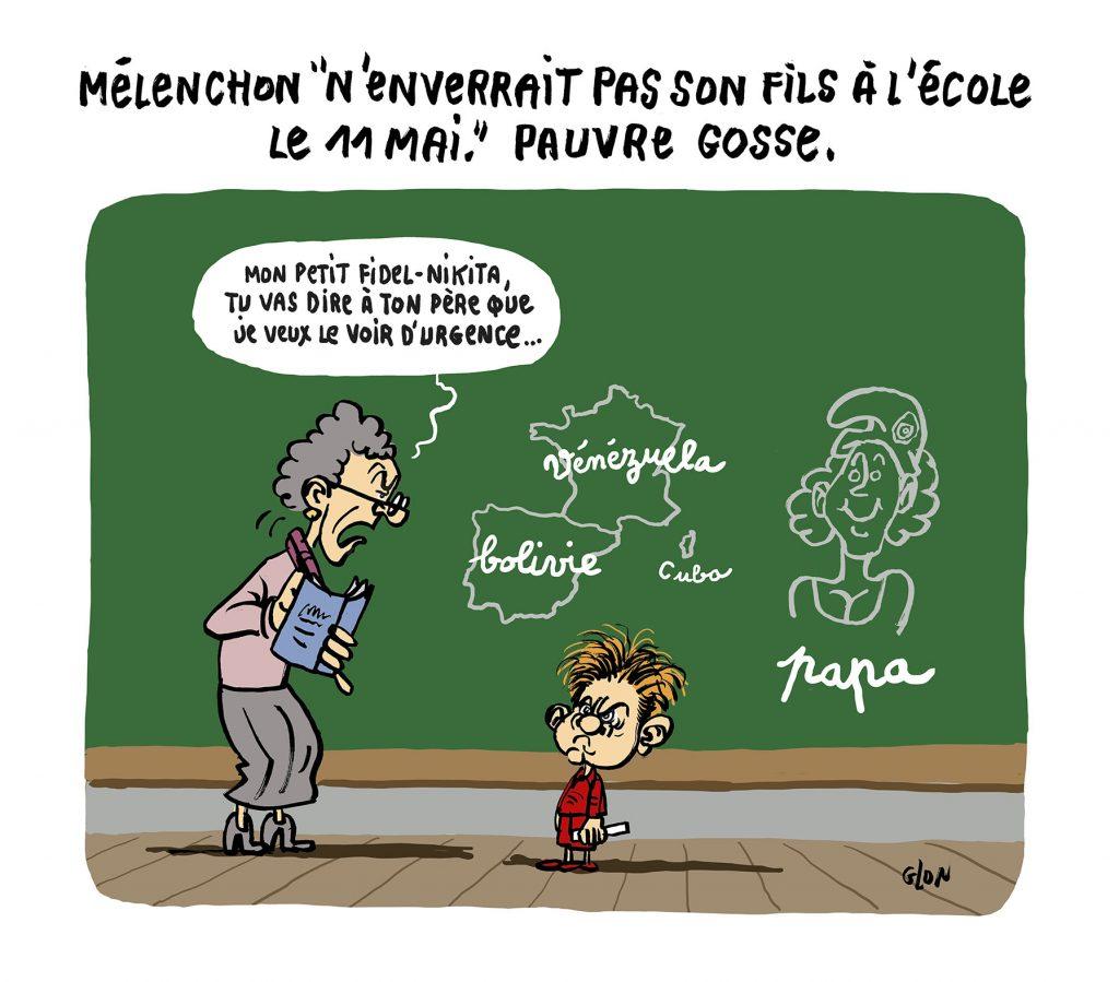 dessin humoristique de Glon sur le déconfinement, la rentrée scolaire du 11 mai et Jean-Luc Mélenchon