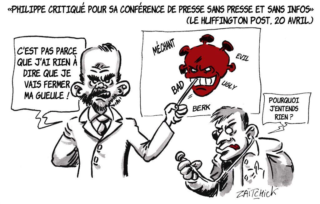 dessin de Zaïtchick sur l'épidémie de coronavirus et la conférence de presse d'Édouard Philippe