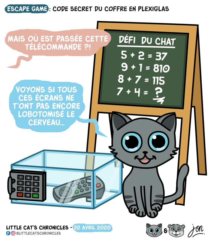 dessin humoristique des Little Cat's Chronicles sur le confinement et les escape games