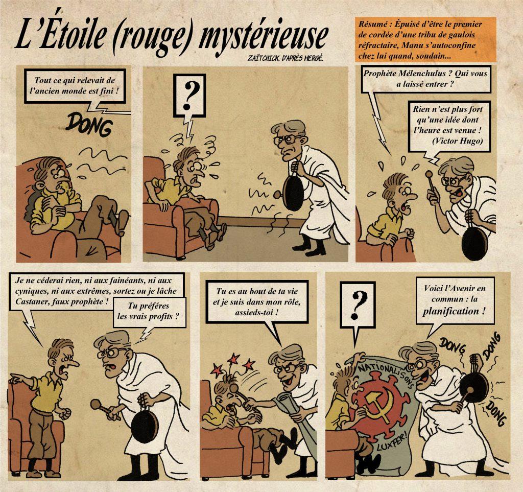 dessin de Zaïtchick sur l'épidémie de coronavirus et la gestion du monde d'après par Emmanuel Macron