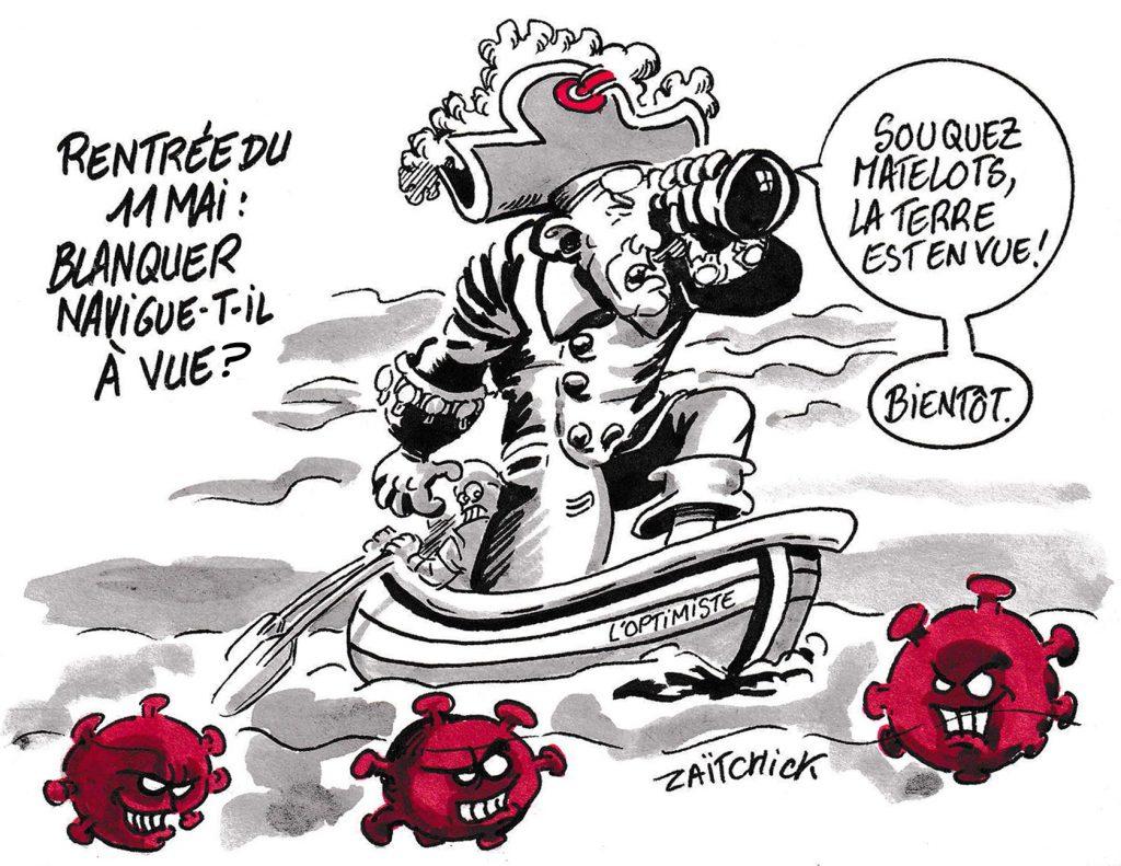 dessin de Zaïtchick sur l'épidémie de coronavirus, le déconfinement et la rentrée scolaire du 11 mai