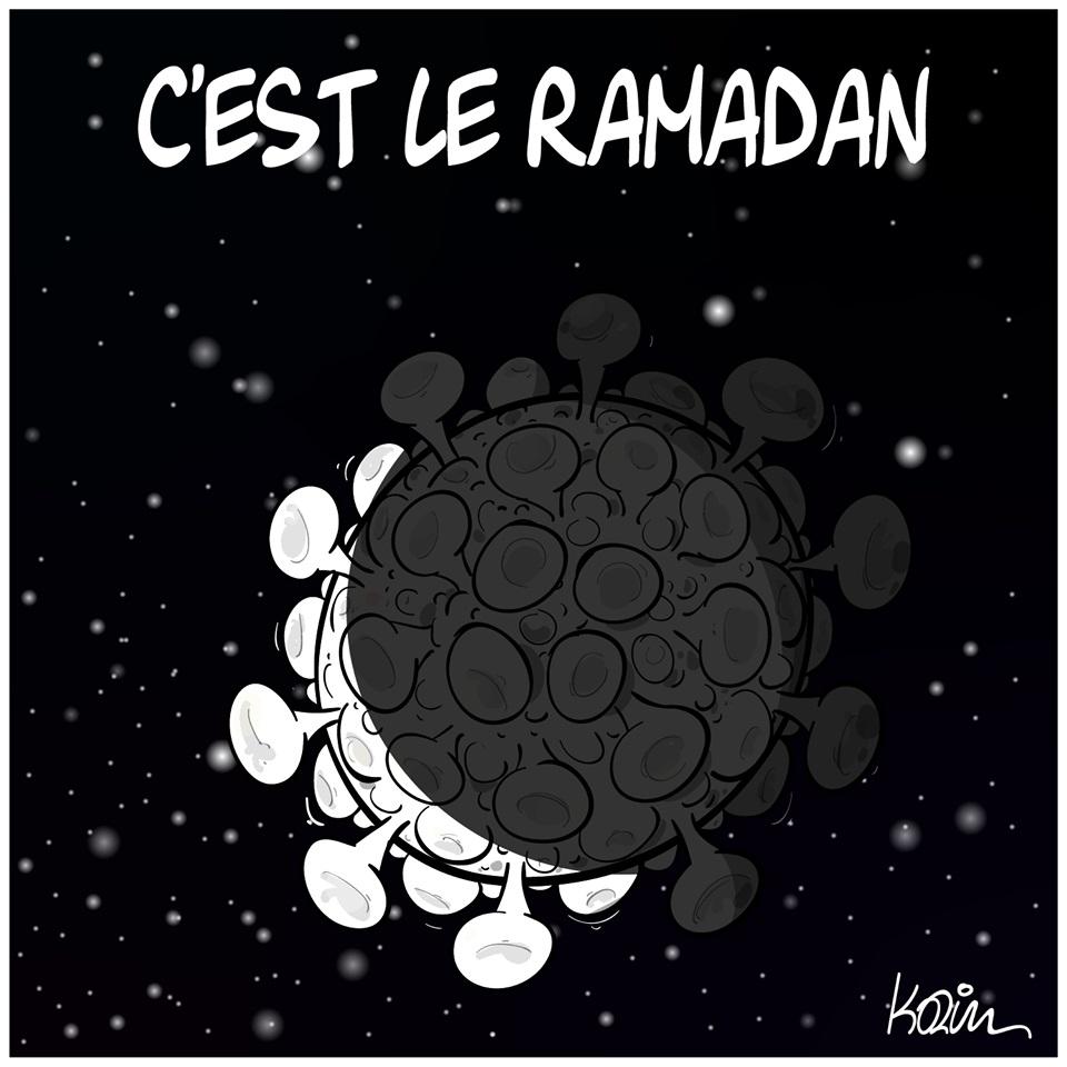 dessin d'actualité humoristique de Karim sur l'épidémie de coronavirus et le début du ramadan