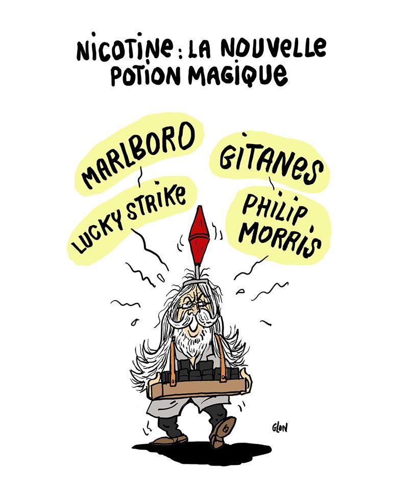 dessin humoristique de Glon sur le coronavirus, le professeur Raoult et la piste de la nicotine