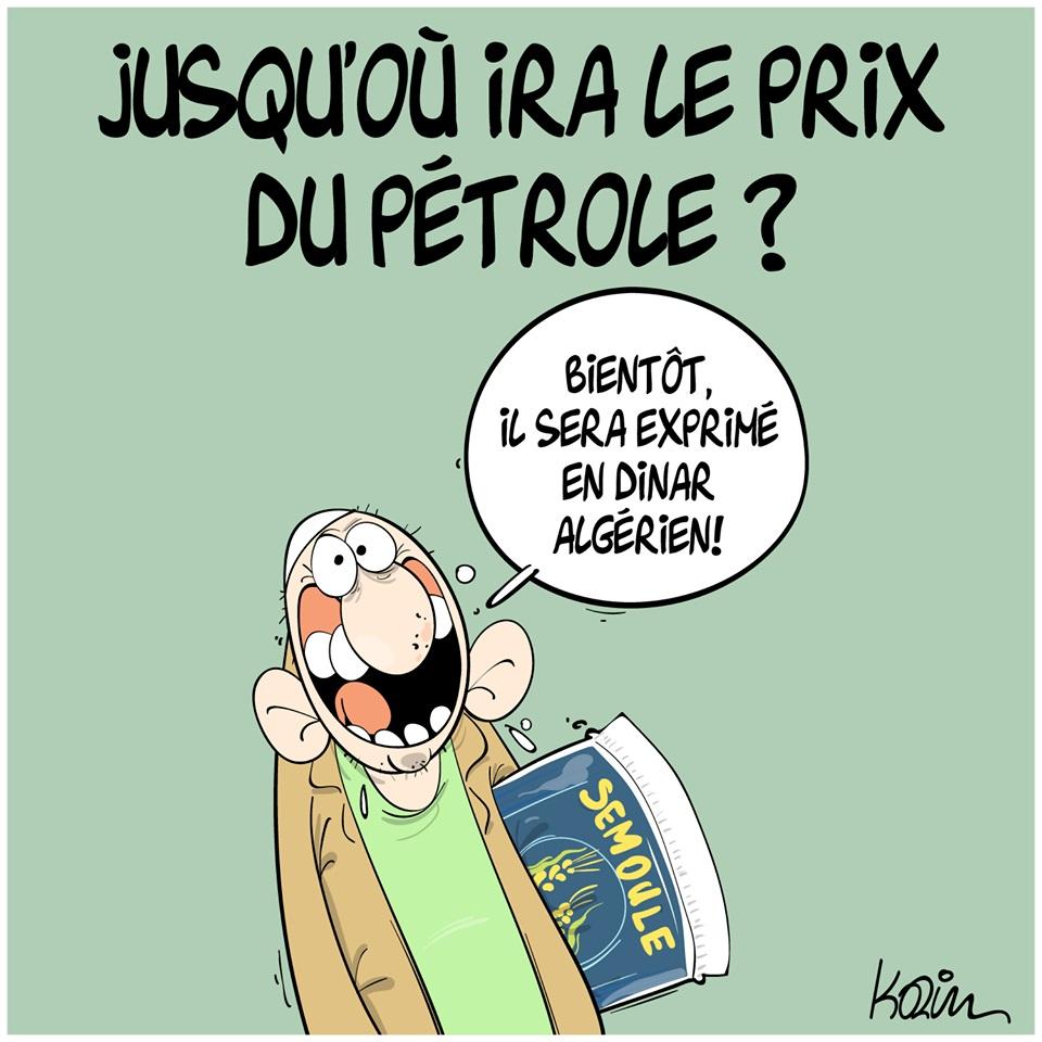 dessin d'actualité humoristique de Karim sur l'épidémie de coronavirus et le prix du pétrole