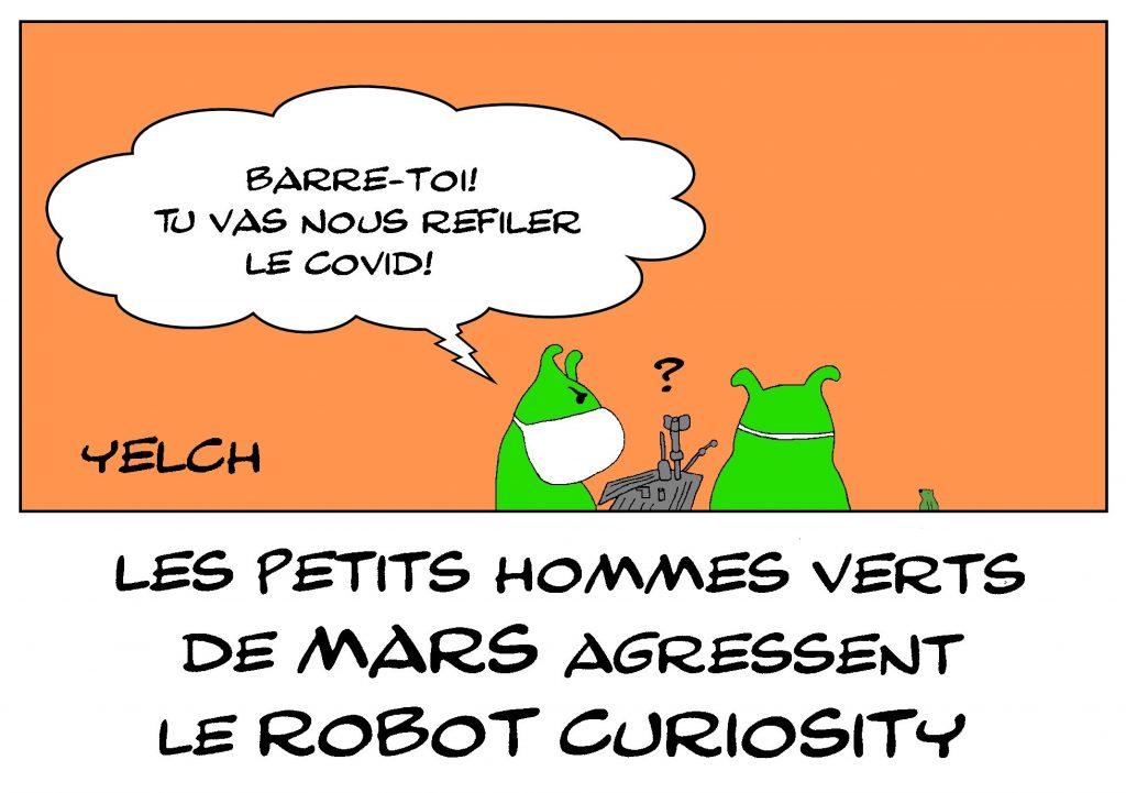 dessin de Yelch sur l'épidémie de covid-19 et le robot Curiosity sur Mars
