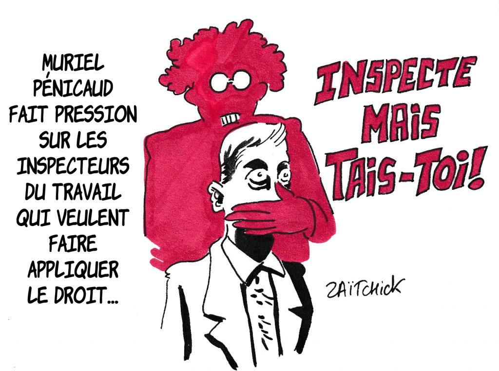 dessin de Zaïtchick sur l'épidémie de coronavirus, le confinement, Muriel Pénicaud et l'inspection du travail