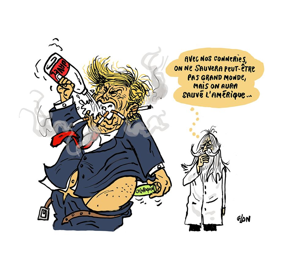 dessin humoristique de Glon sur le coronavirus, le professeur Raoult et Donald Trump
