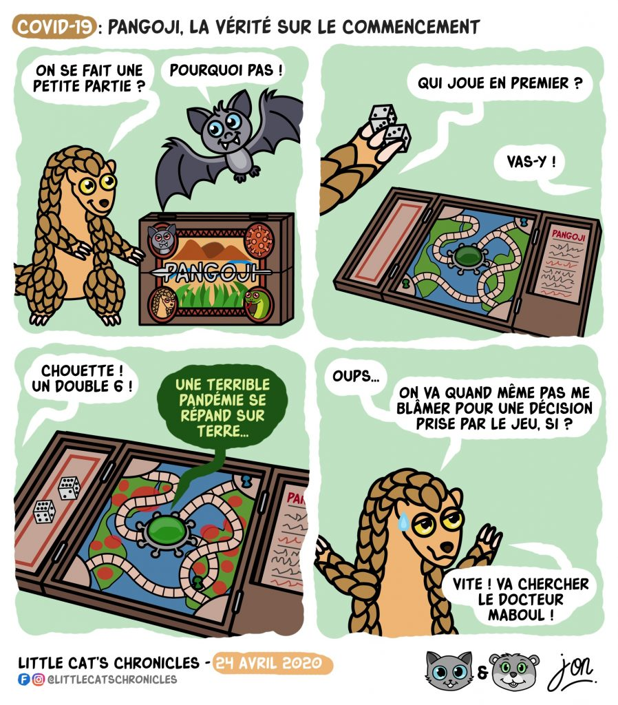 dessin humoristique des Little Cat's Chronicles sur les origines de l'épidémie de coronavirus