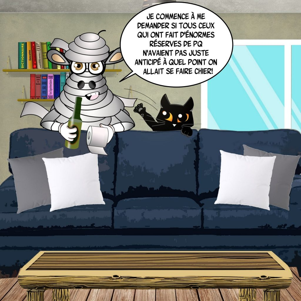 dessin d'actualité humoristique des Moutons Noirs sur l'épidémie de Covid-19 et la ruée sur le papier toilette en France