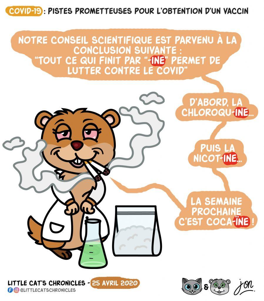 dessin humoristique des Little Cat's Chronicles sur la lutte contre le coronavirus et les remèdes possibles