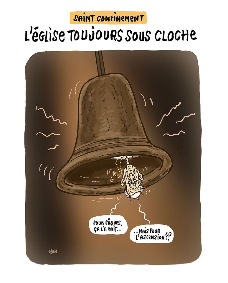 dessin humoristique de Glon sur le confinement et l'église catholique