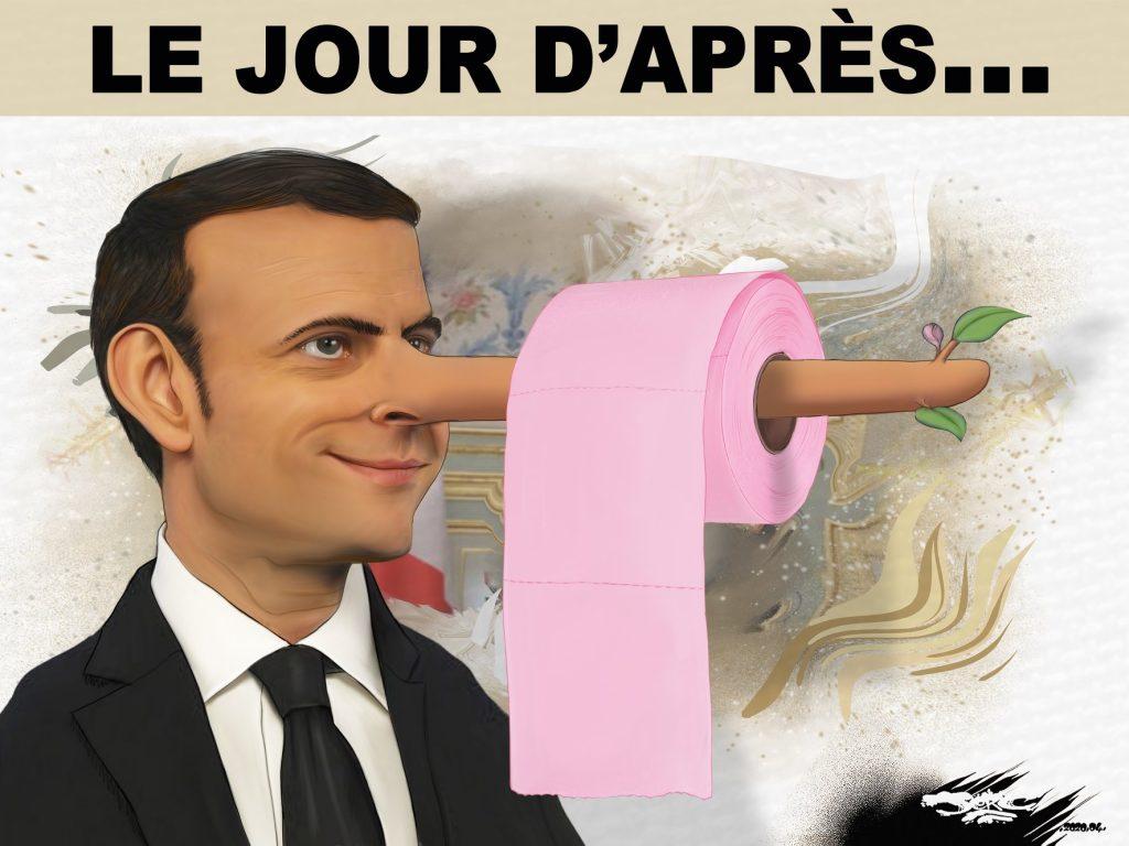 dessin d'actualité humoristique de Jerc sur l'épidémie de Covid-19 et la politique gouvernementale d'Emmanuel Macron