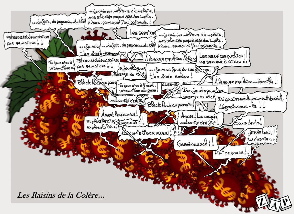dessin d'actualité de Zap sur l'épidémie de coronavirus et la cacophonie des revendications
