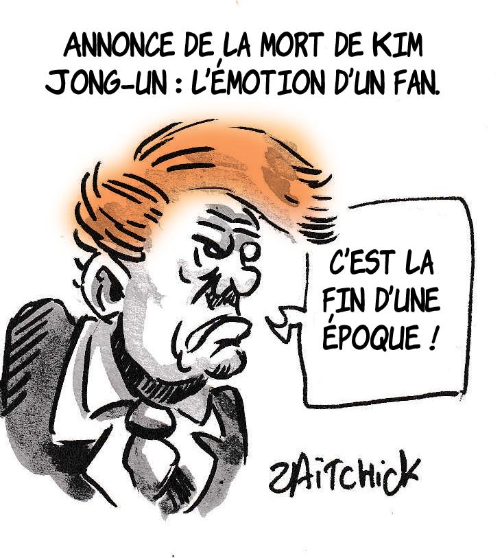 dessin de Zaïtchick sur les rumeurs du décès de Kim Jong-un et Donald Trump