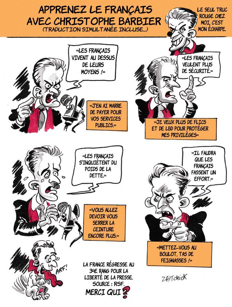 dessin de Zaïtchick sur les éléments de langage de Christophe Barbier