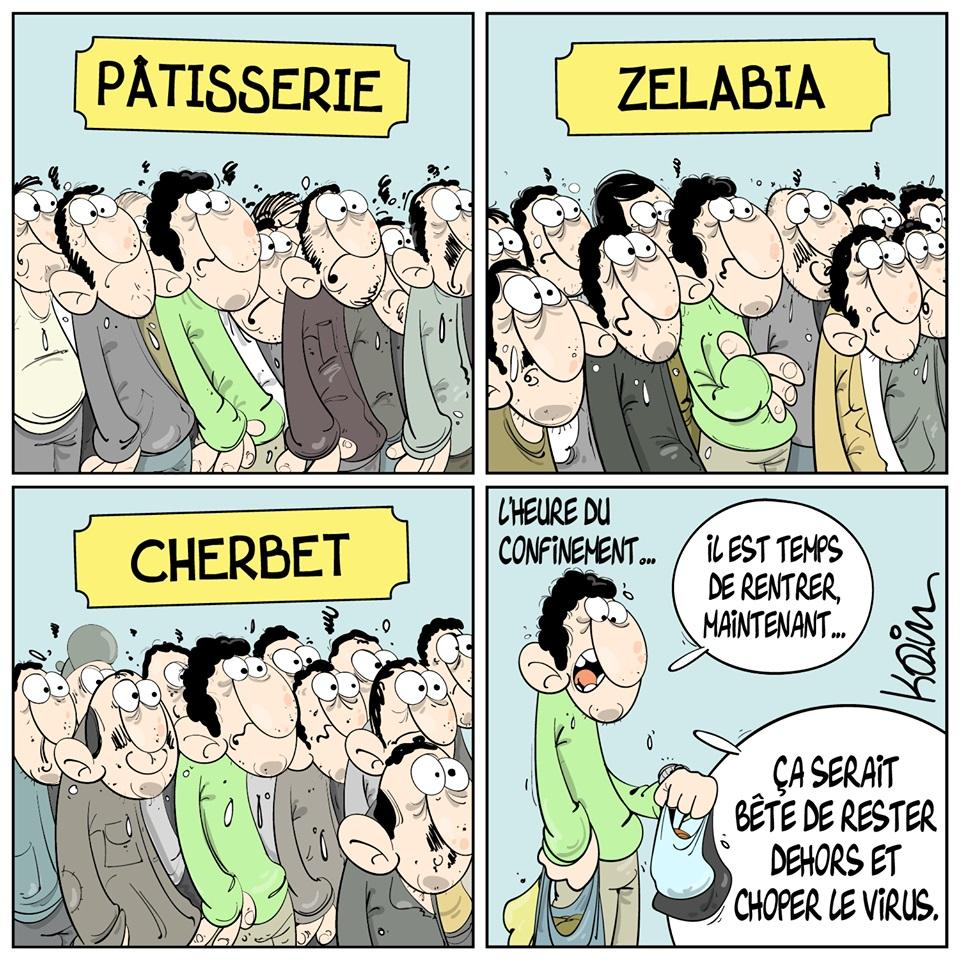 dessin d'actualité humoristique de Karim sur l'épidémie de coronavirus et le confinement nocturne à Alger
