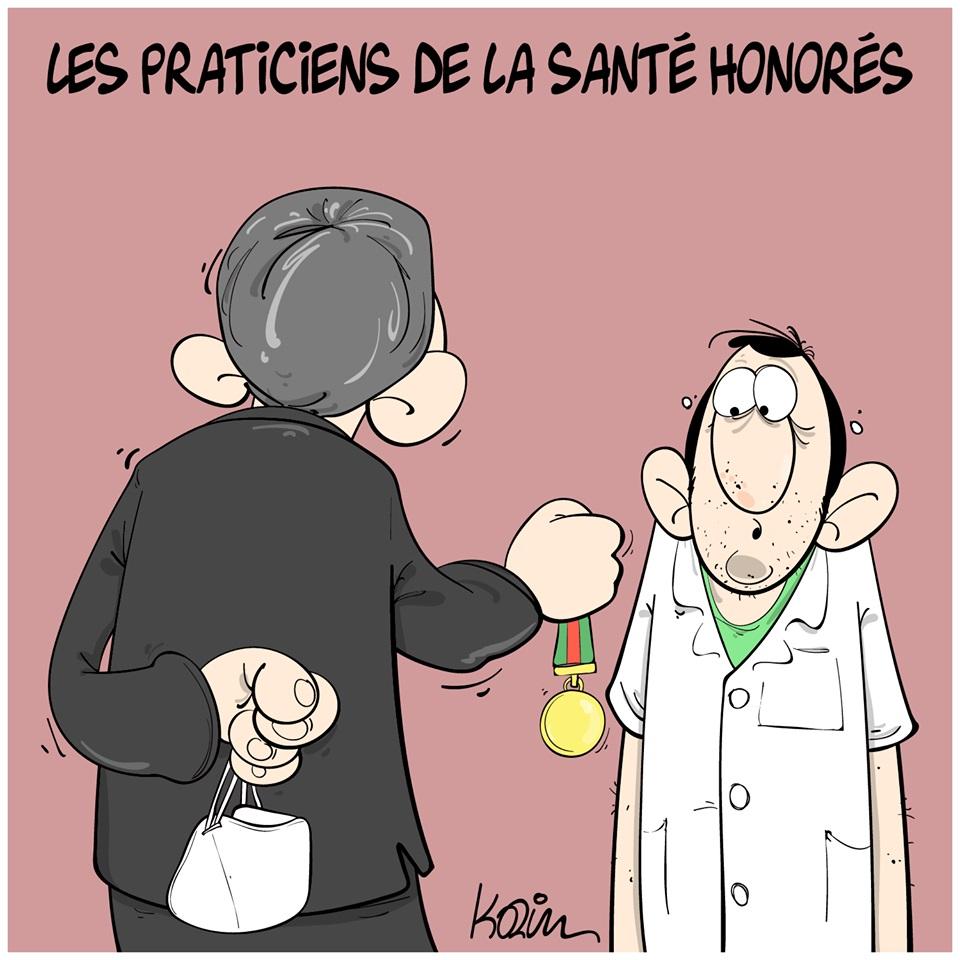 dessin d'actualité humoristique de Karim sur l'épidémie de coronavirus et les honneurs rendus aux professionnels de santé démunis