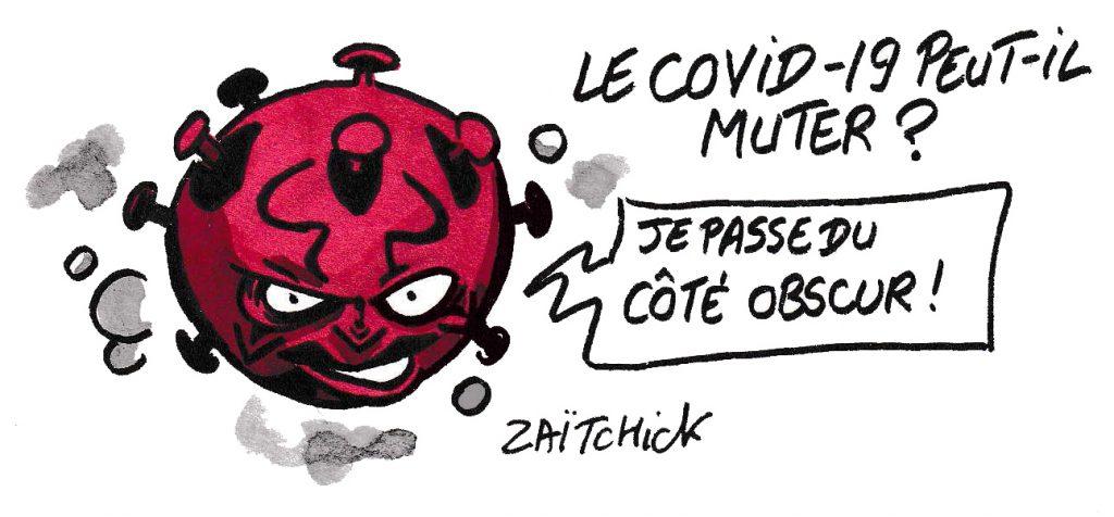 dessin de Zaïtchick sur la possibilité de mutation du coronavirus et Darth Maul