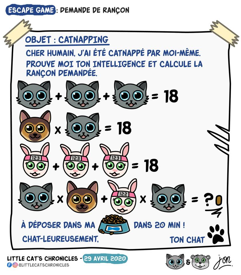 dessin humoristique des Little Cat's Chronicles sur une demande de rançon alimentaire du petit chat