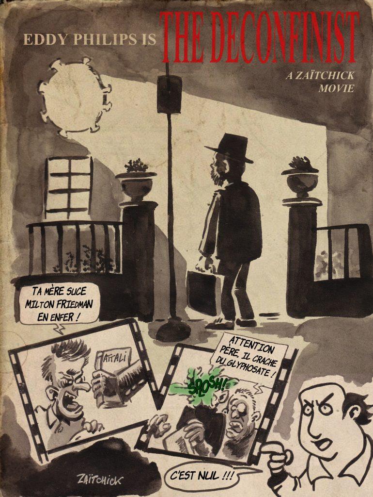 dessin de Zaïtchick sur la politique du gouvernement pour le déconfinement et L'Exorciste