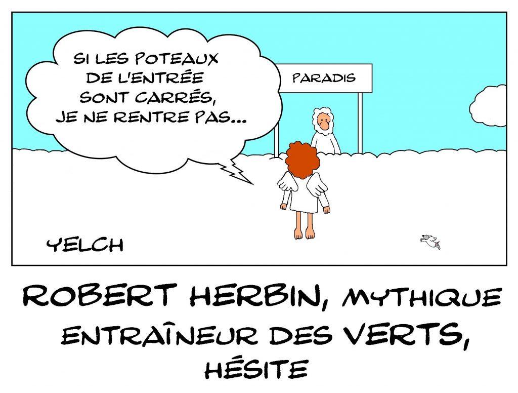 dessin de Yelch sur le décès de Robert Herbin